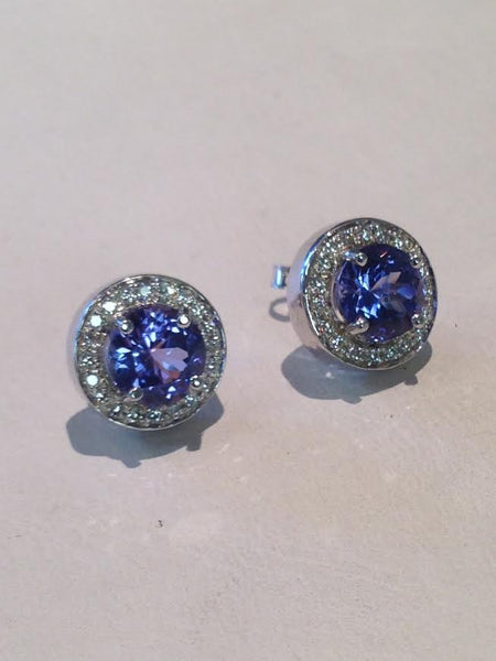 Tanzanite Halo Earrings