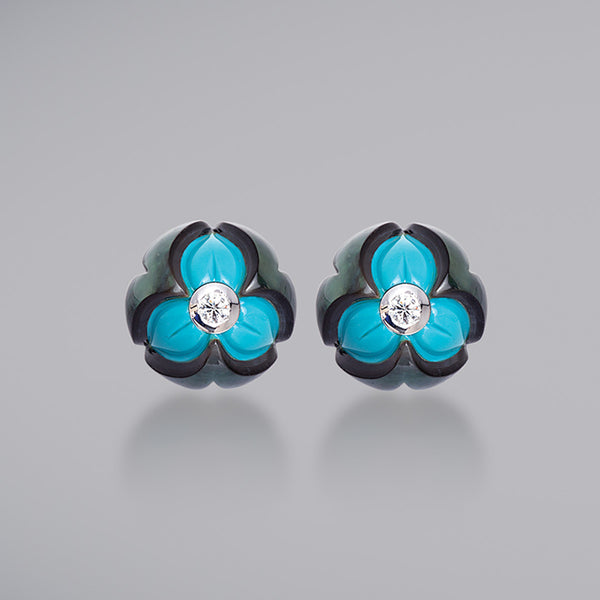 Black Pearl over Turquoise with Diamond Earrings