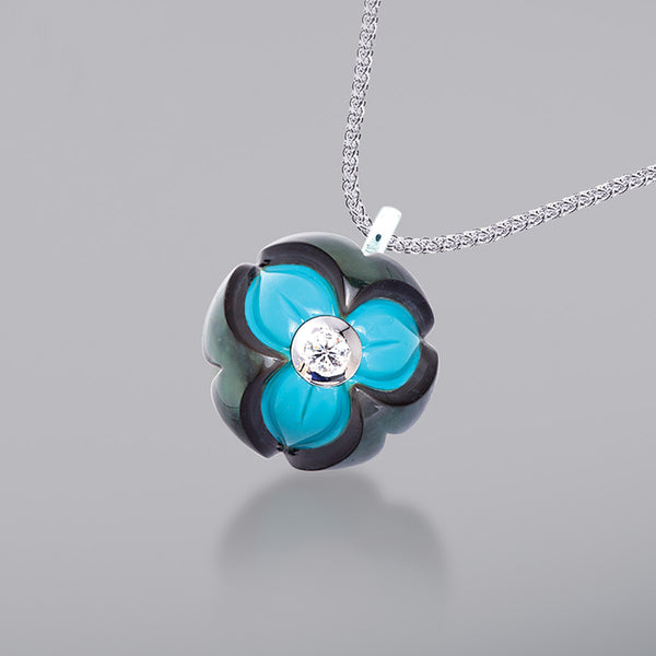 Black Pearl over Turquoise with Diamond Pendant