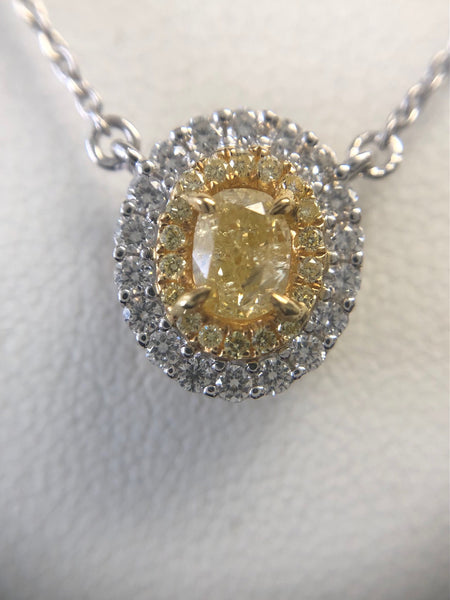Yellow Oval Diamond Necklace
