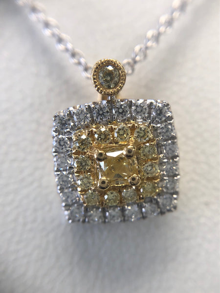 Yellow Diamond Pendant Cushion Cut