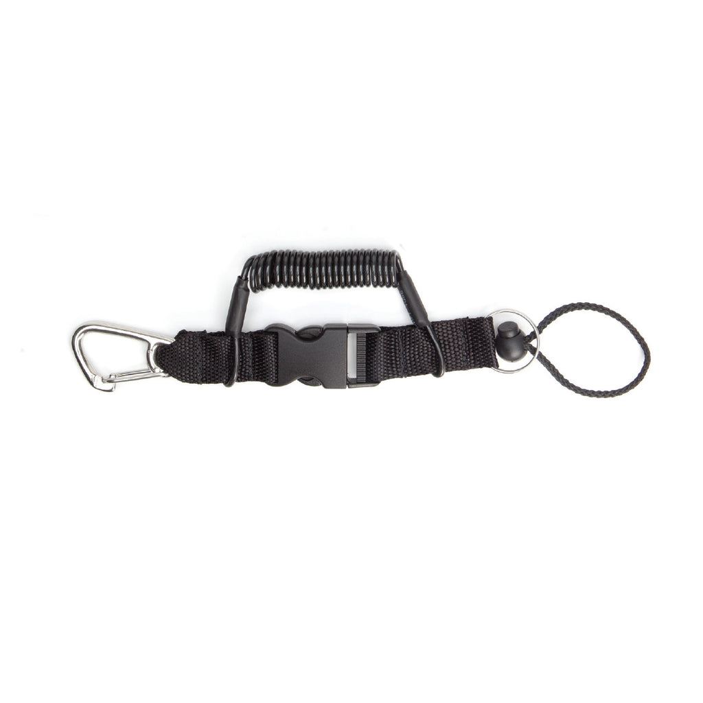 "Coil Lanyard - 52"" Stainless Steel Snap Clip/Split Ring - Outside The Asylum Diving & Travel"