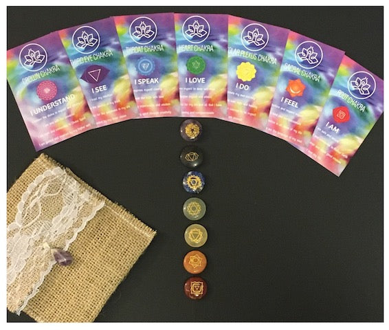 Chakra Affirmation Cards and Crystal Set