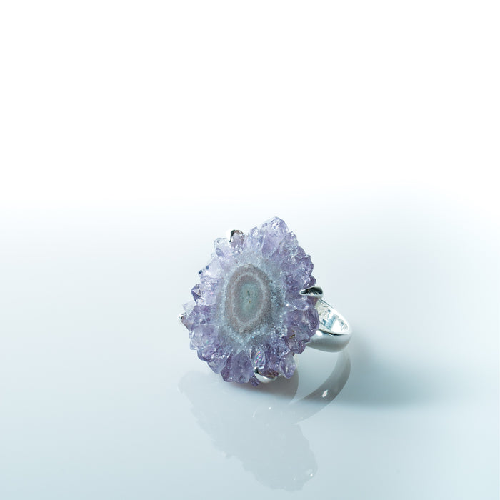 Amethyst Flower Crystal Ring