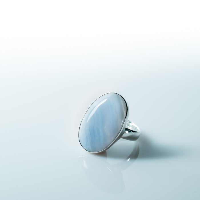 Blue Lace Agate Crystal Ring