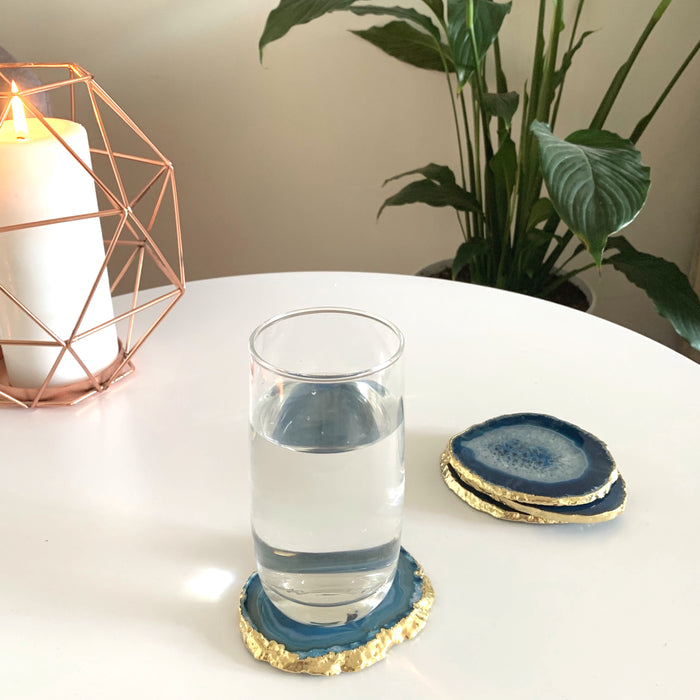 Blue Agate Coasters - set of 4