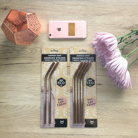 Ever Eco Resuable straws - Rose Gold and Stainless Steel