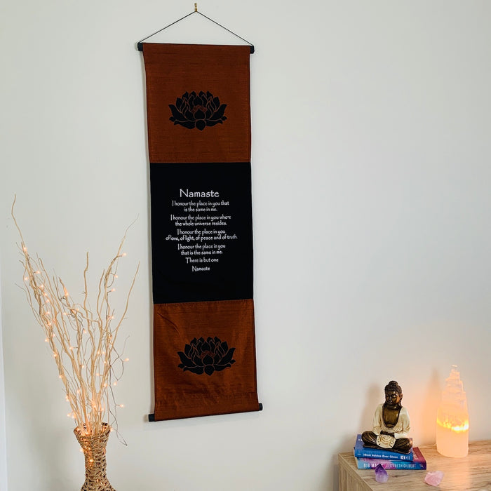 namaste affirmation banner large brown