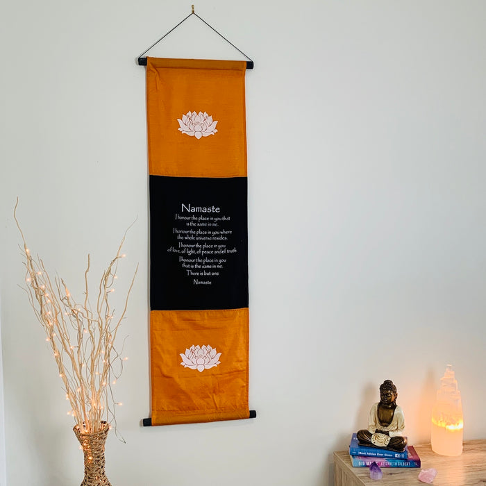 namaste affirmation banner large orange