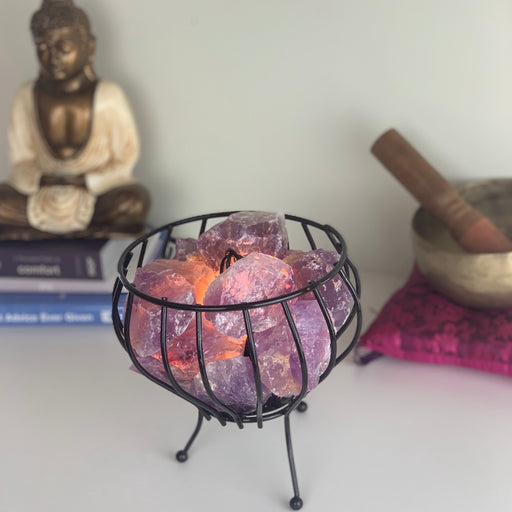 Crystal Cage Lamp - Amethyst