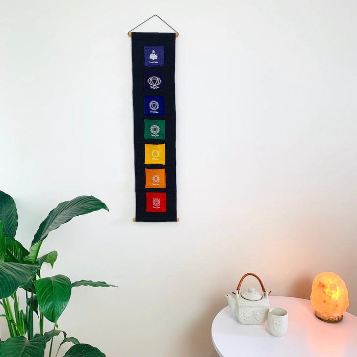 Chakra Pocket Wall Hanging with Crystal - Medium