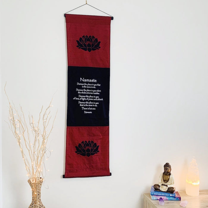 Namaste affirmation banner large blue