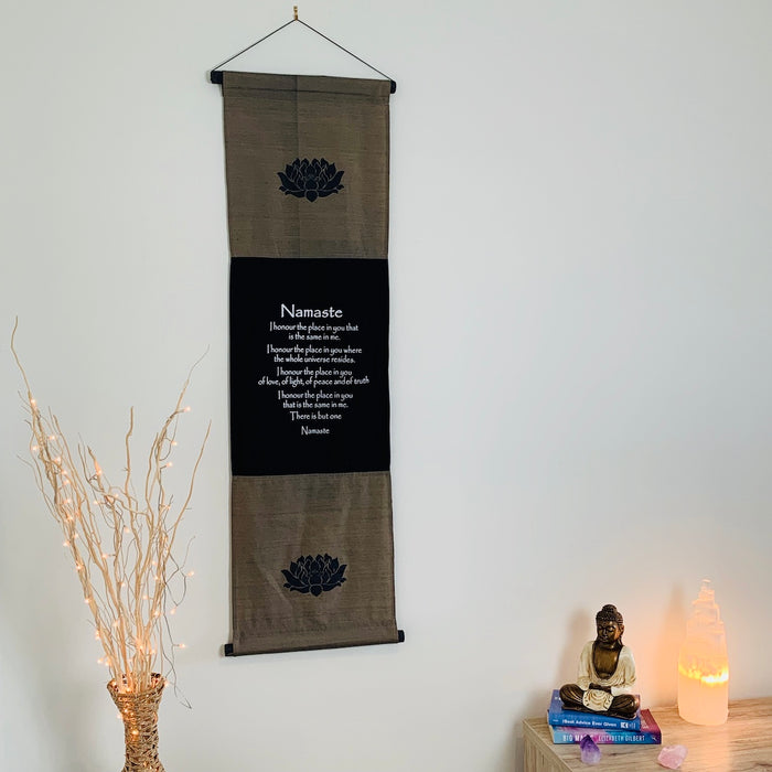 namaste affirmation banner large grey