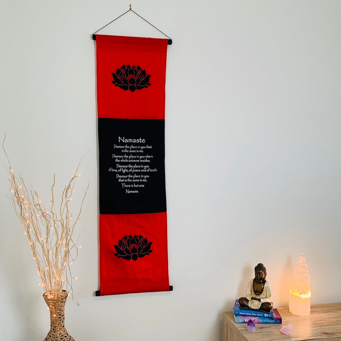 namaste affirmation banner large red