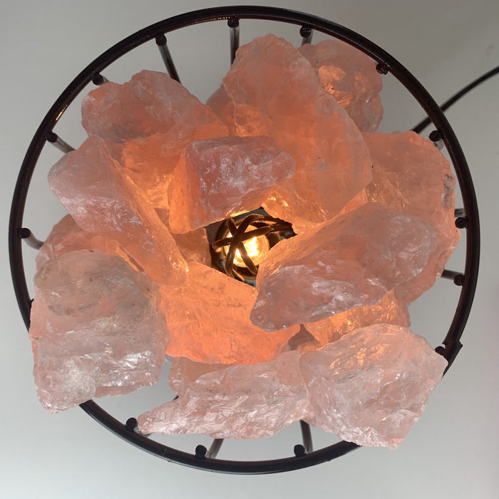 Crystal Cage Lamp - Rose Quartz
