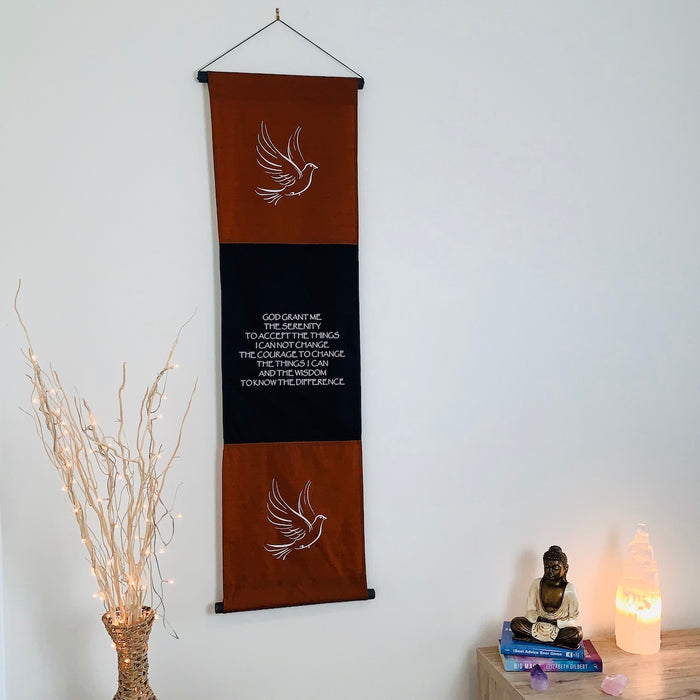 serenity prayer  affirmation banner large brown