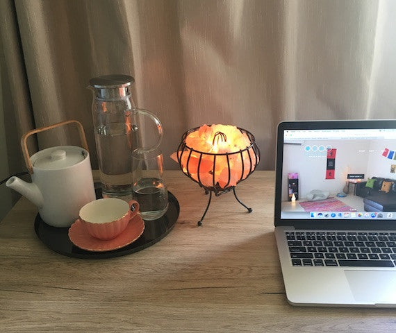 Himalayan Salt Fire Cage Lamp