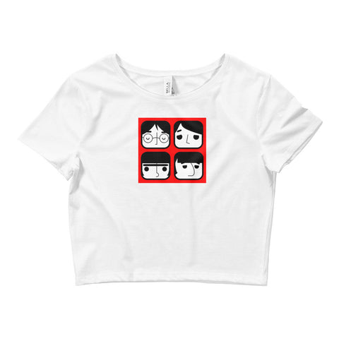 Fab Four Red Design - Women's Crop Top