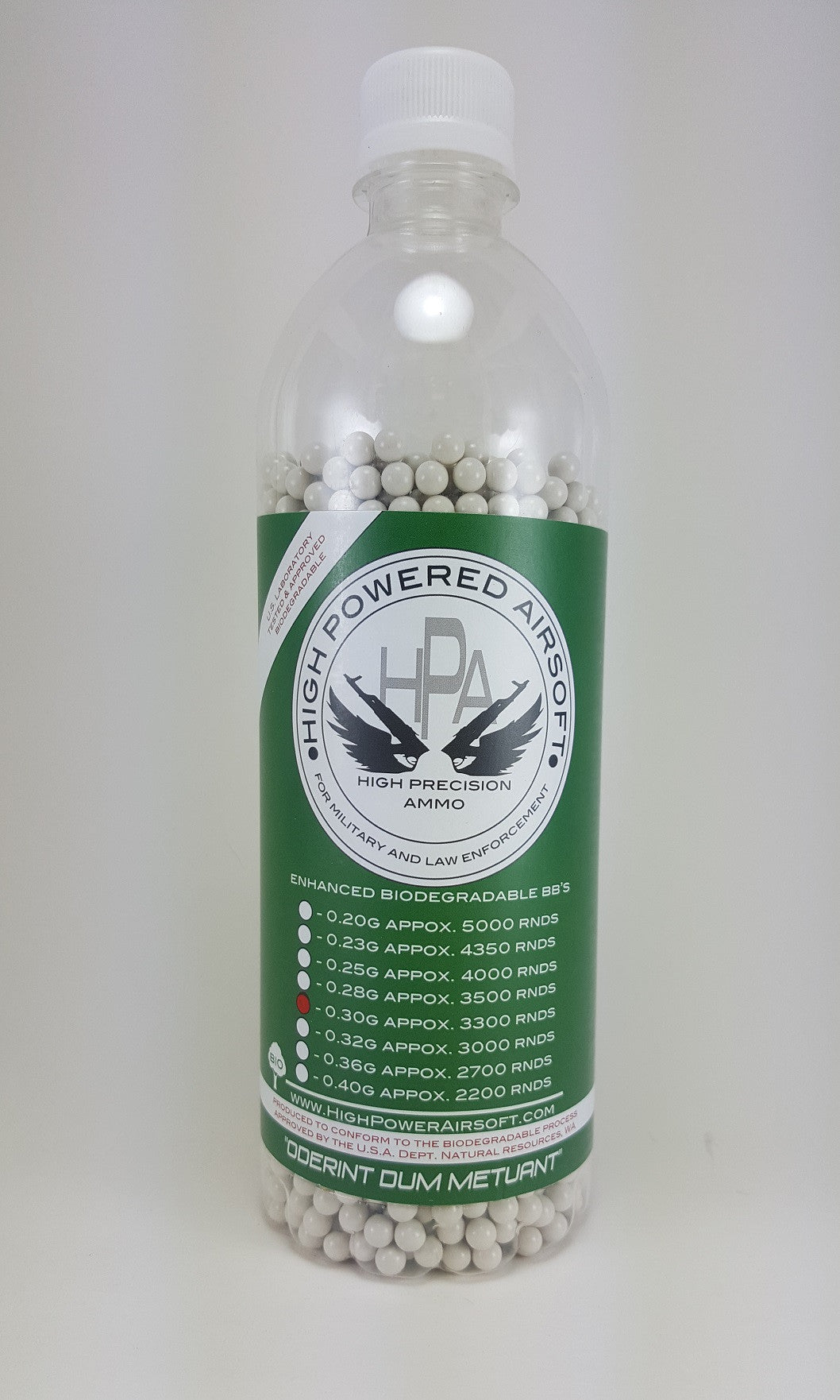 High Powered Airsoft 0.30g BIO BBs 3300CT Bottle