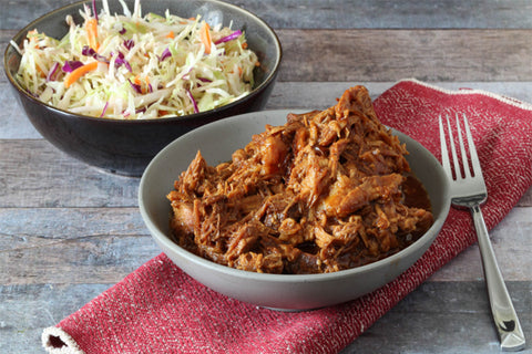 BBQ Pulled Turkey Breast with Sweet Potato Slaw