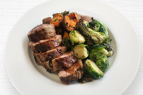 Balsamic-Glazed Pork Tenderloin w/Roasted Brussel Sprouts *NEW by Chef Celia*
