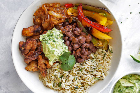 Chicken Fajitas w/ Brown Rice and Black Beans