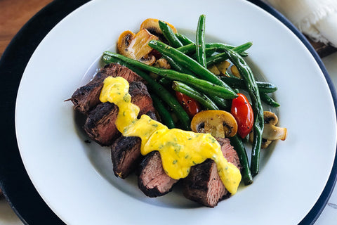Grilled Steak w/ Basil Hollandaise Sauce