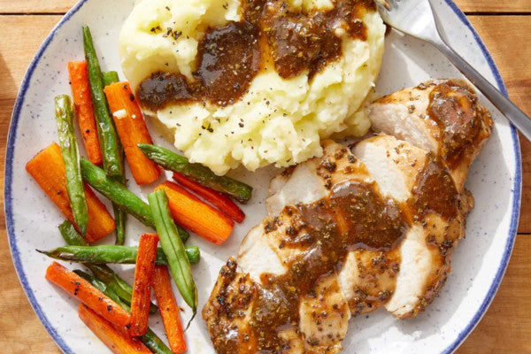 Roasted Chicken Breast w/ Mashed Potatoes & Gravy