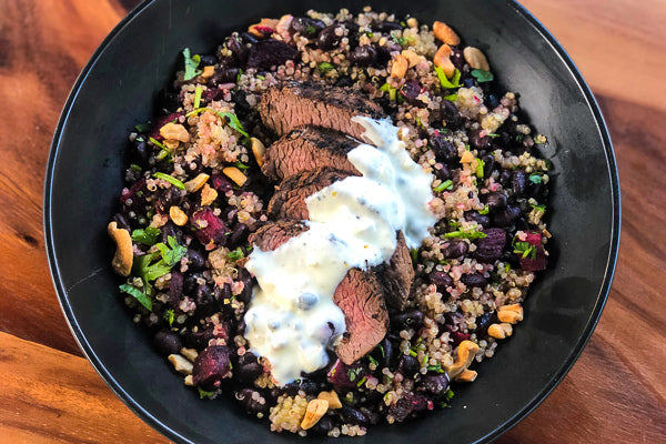 Seared Steak w/ Quinoa, Roasted Beets & Black Beans *NEW*