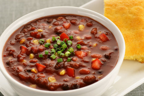 Vegetarian Three Bean Chili with Corn Bread