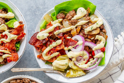 Sriracha Ranch Keto-Paleo Burger Bowl