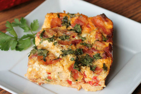 Turkey Bacon Frittata with Baby Kale and Spinach
