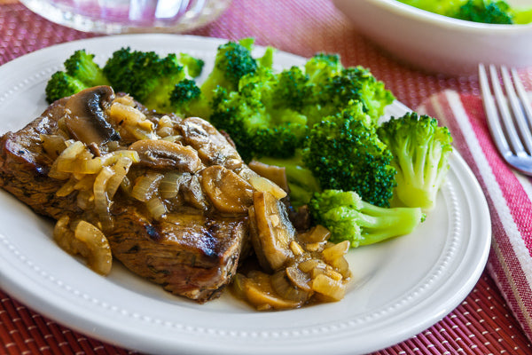 Grilled Keto Steak w/ Mushroom Sauce and Broccoli