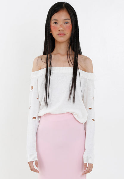 Shoulderless Ripped Top