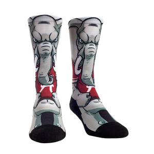Rock Em Elite Alabama HyperOptic Mascot NCAA Licensed Crew Socks (L/XL)