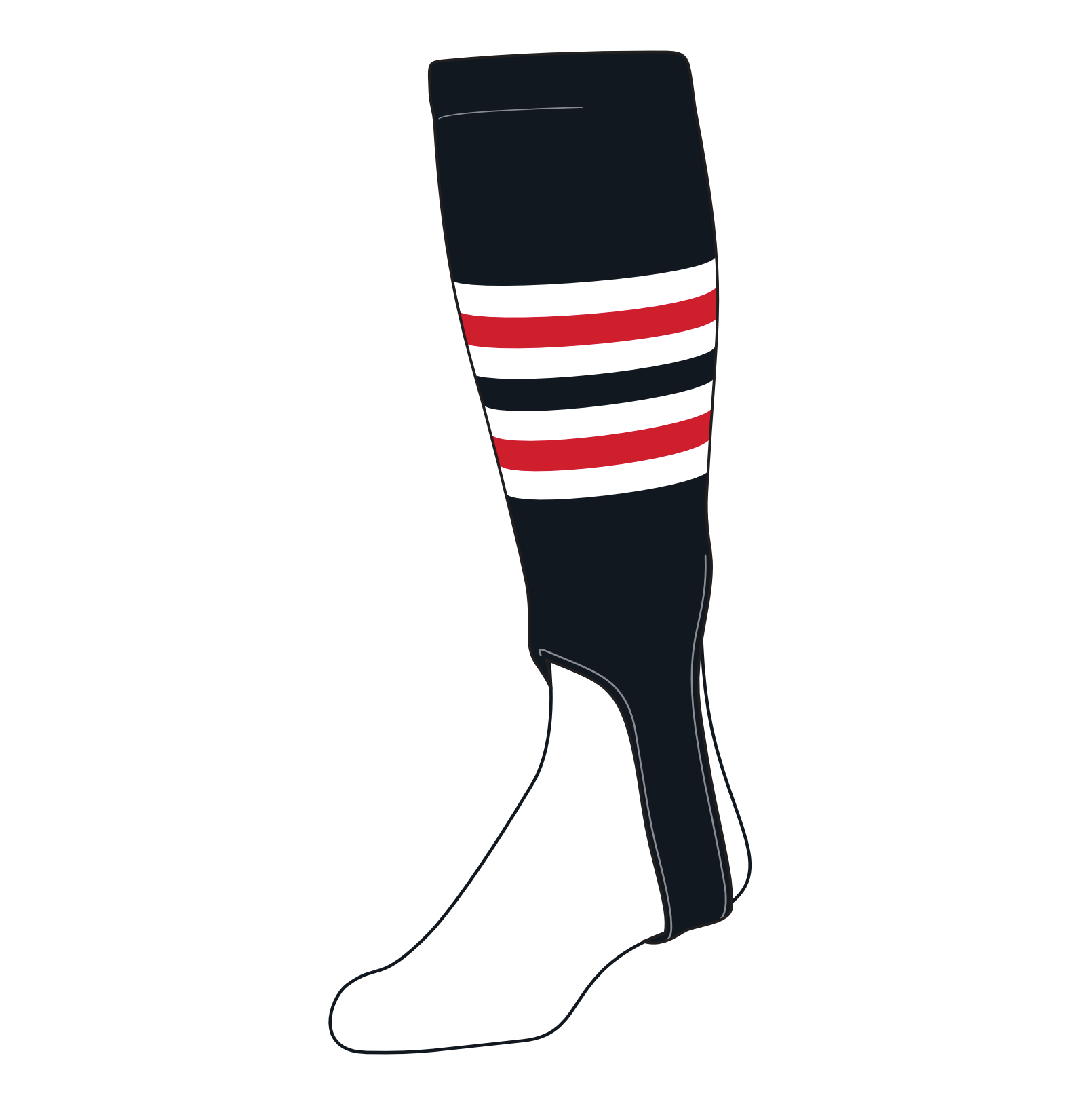 TCK Baseball Stirrups Medium (200I, 5in) Black, White, Red