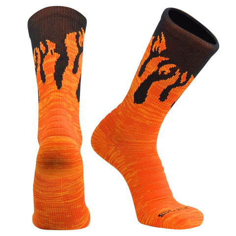 Swanq Pyro Flame Fire Basketball Football Crew Socks by TCK