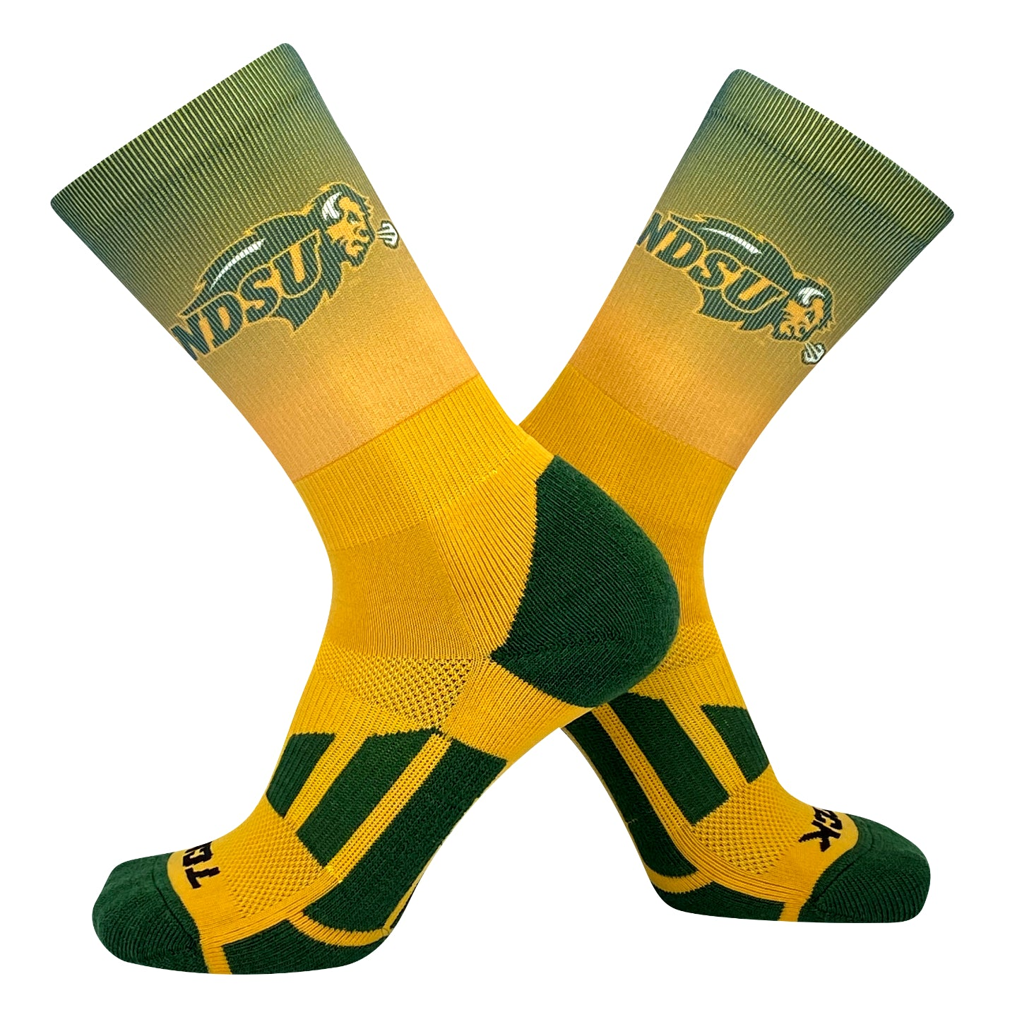 TCK North Dakota State Bison Ombre NCAA Licensed Crew Socks (8-13)