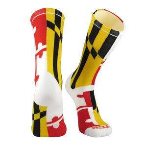 TCK Elite Flag Socks - MARYLAND - White/Red/Gold/Black - proDRI NEW