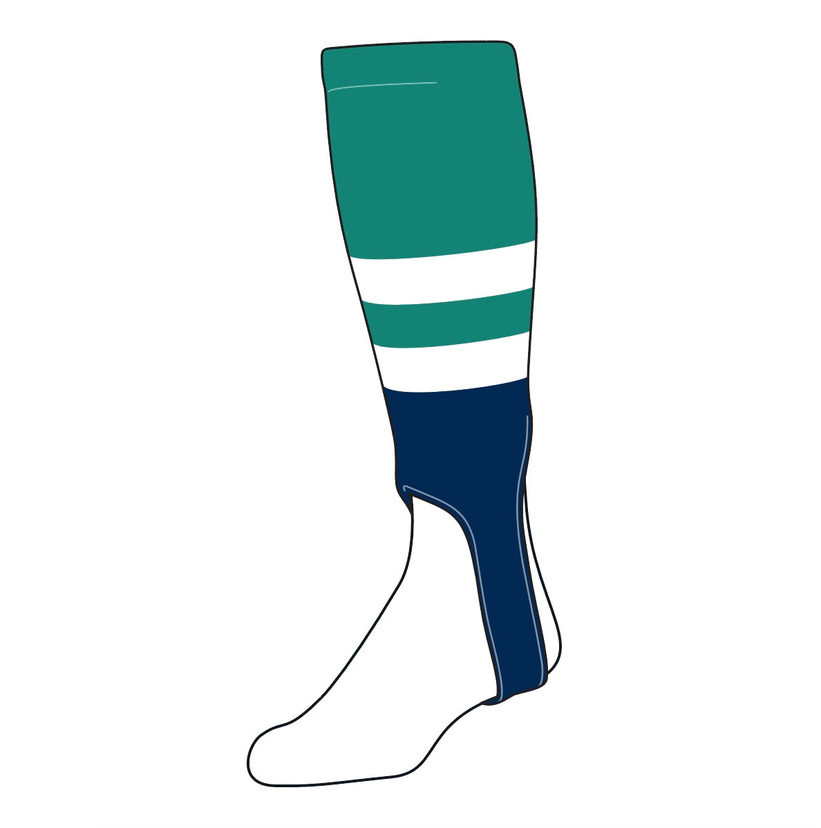 TCK Baseball Stirrups Medium (200G, 5in) Teal, White, Navy