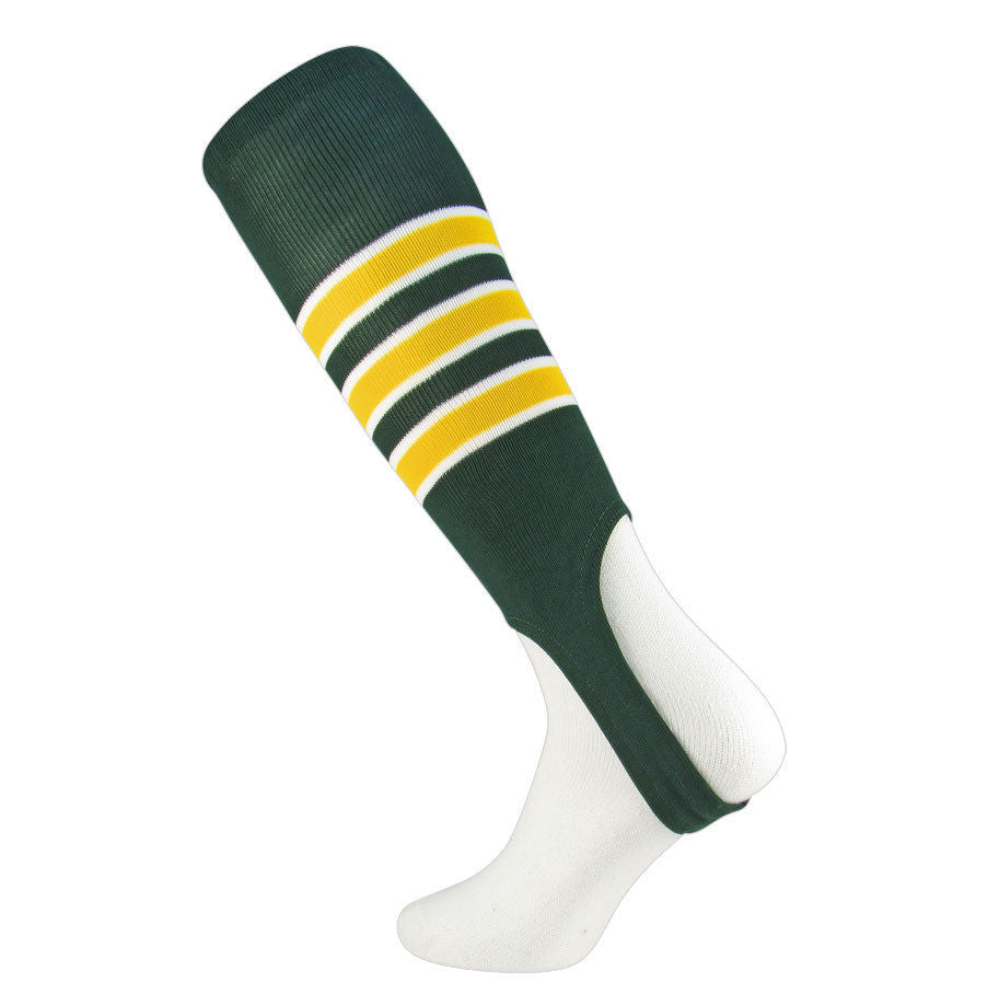 TCK Oakland Baseball Stirrups Green Gold with White Featheredge, 7 inch cut