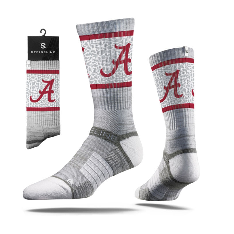Strideline Alabama Big Al Crimson Tide Grey Collegiate Crew Socks