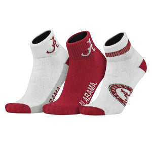 Topsox Alabama Crimson Tide 3pr Pack NCAA Logo Ankle Socks