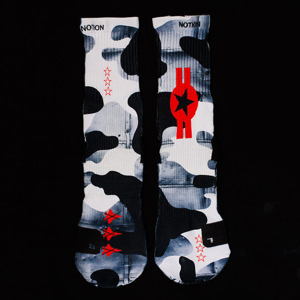 NOTION Elite FIGHTER JET BlackWhiteRed 3D Printed Basketball Crew Socks