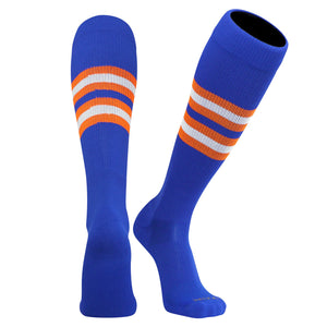 TCK Elite Baseball Football Long Striped Socks (I) Royal Blue, Orange, White