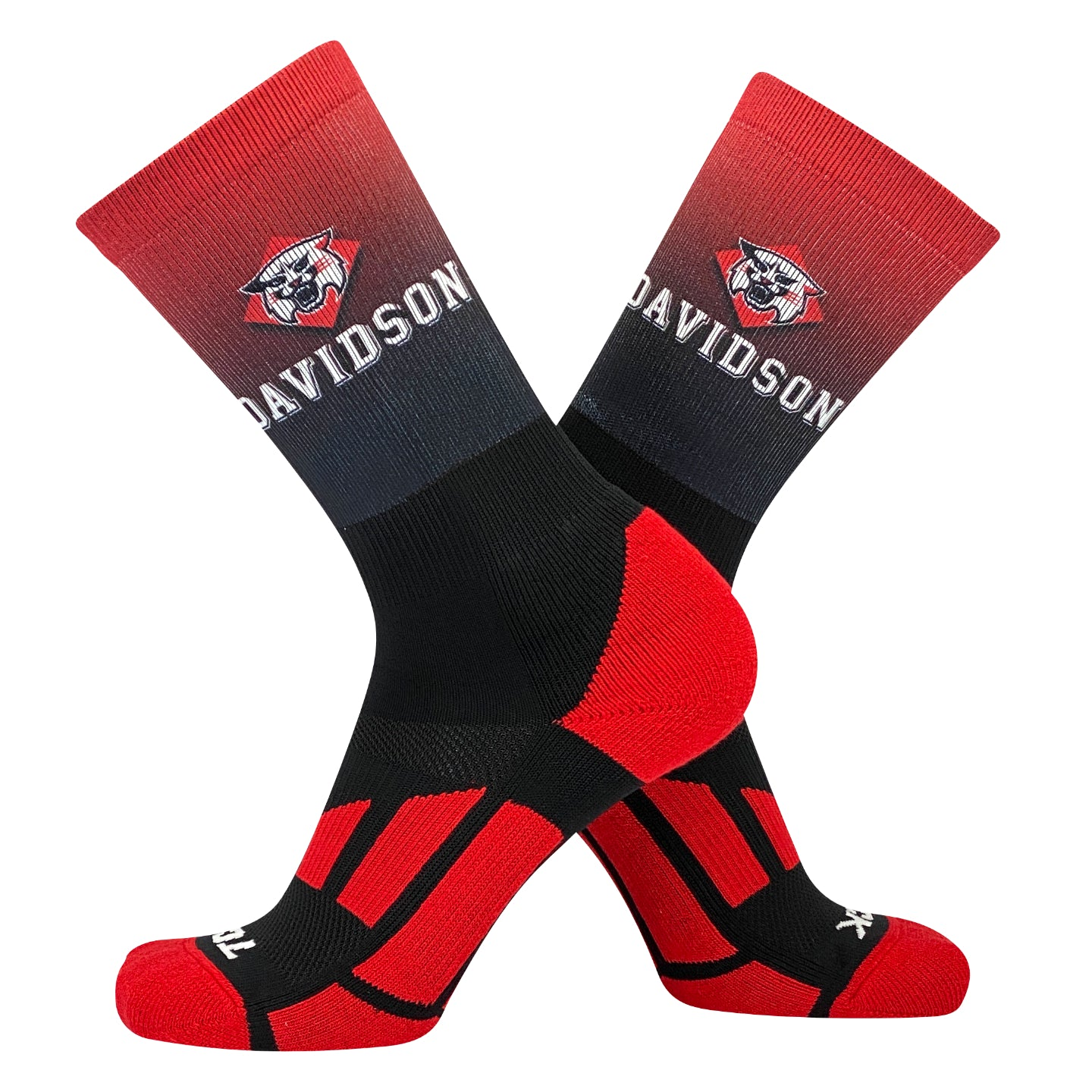 TCK Davidson Wildcats Ombre NCAA Licensed Crew Socks (8-13)