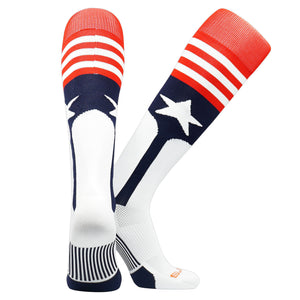 Swanq Stars and Stripes USA Baseball Stirrup Socks made by TCK