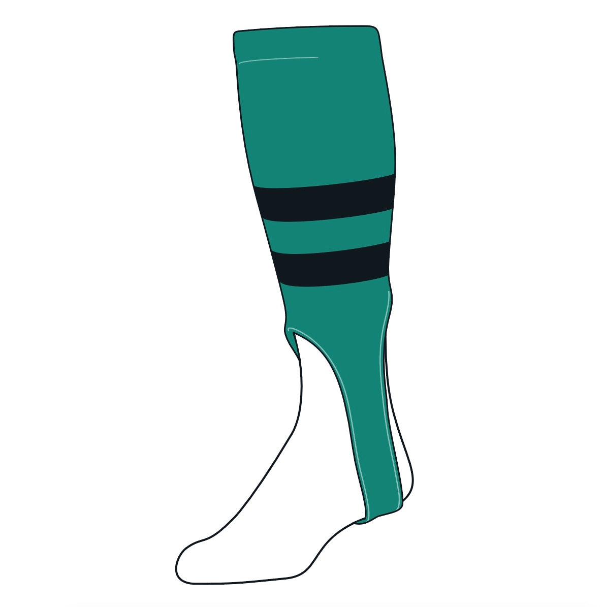TCK Baseball Stirrups Medium (200G, 7in) Teal, Black, Teal