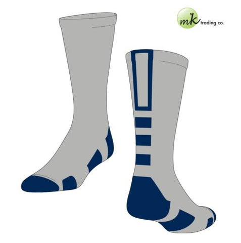 Baseline 2.0 Elite Socks - Grey/Navy Blue (Medium) - proDRI fabric, NWT