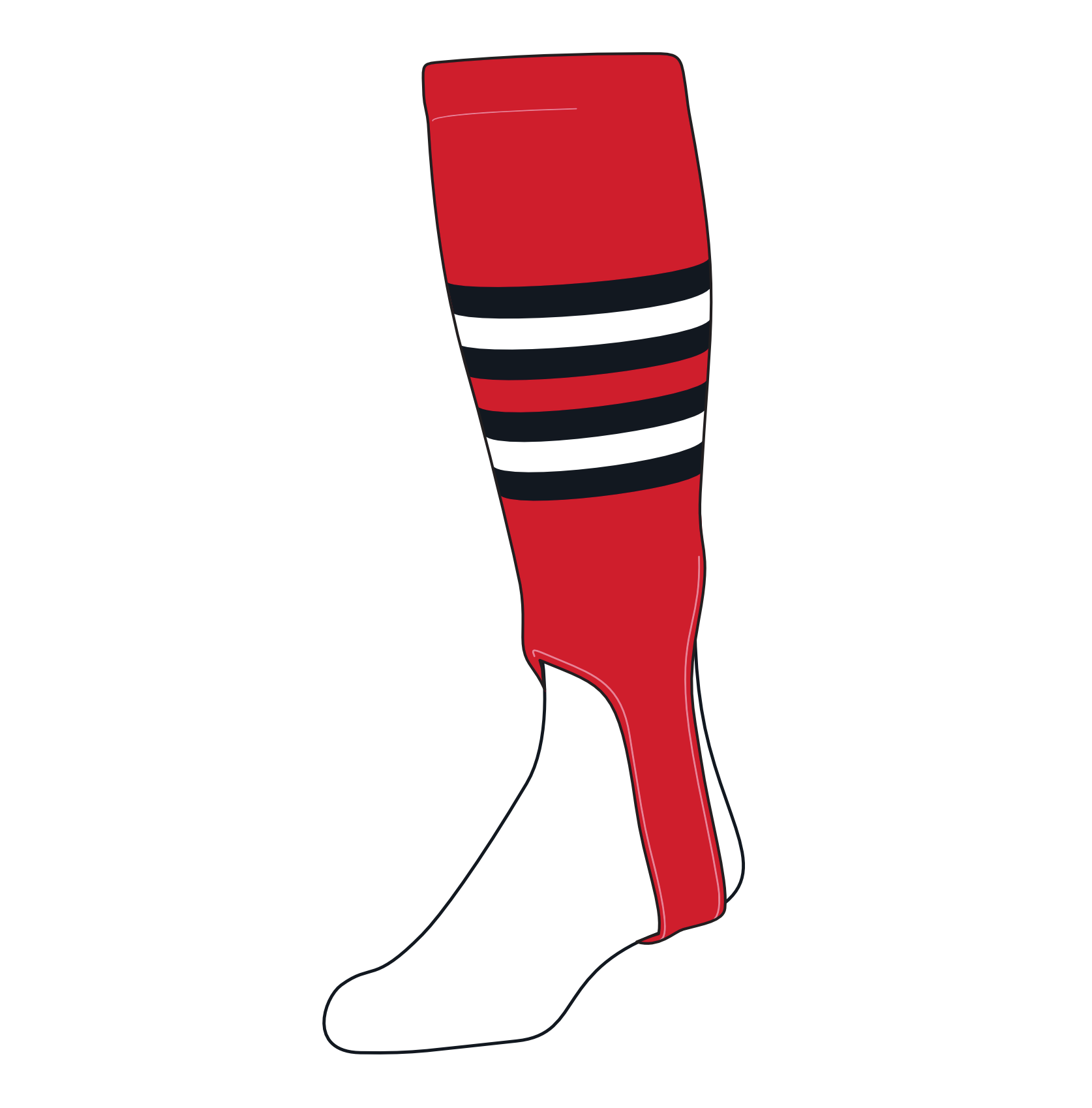 TCK Baseball Stirrups Medium (200I, 5in) Red, Black, White